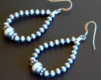 Native American Navajo Graduated Sterling Silver Bead Handmade Earrings