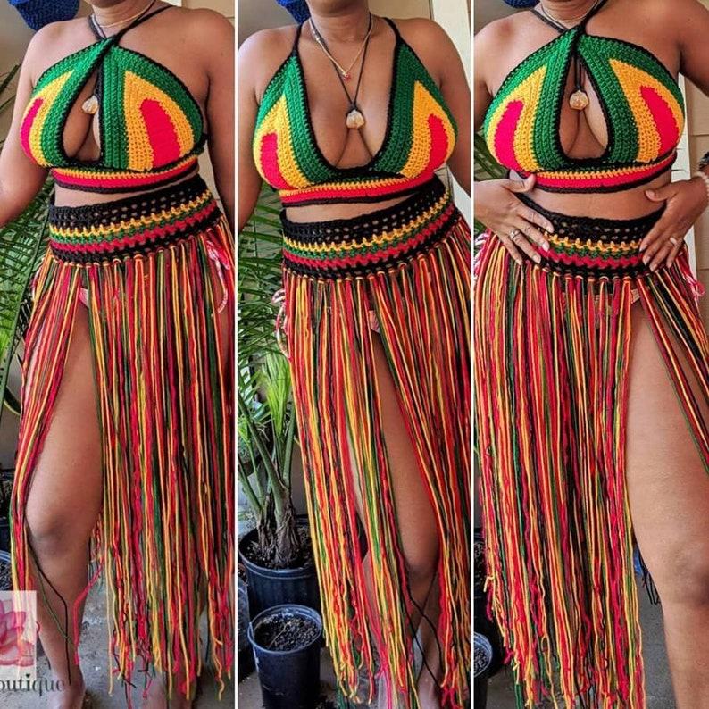 bb4791e3da Rasta outfit festival outfit crochet top beach skirt | Etsy