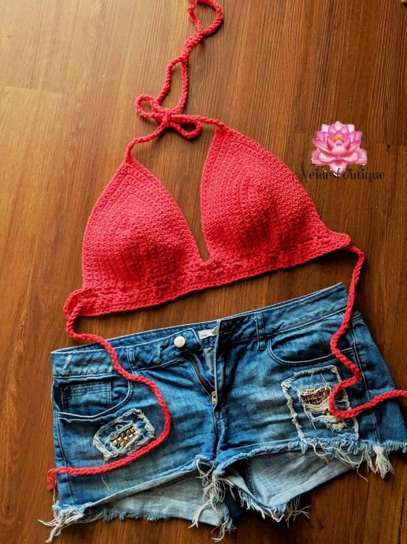 3b7a02f1f80 Crochet bralette Red bikini crochet halter top crochet crop | Etsy