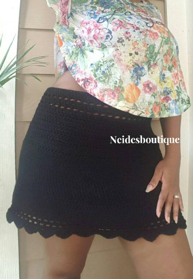 faee6c236aa Black crochet skirt scallop style skirt Festival dance | Etsy