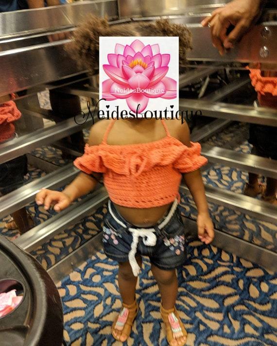 Baby girl crop top toddler crochet top little girl top  8f83e9621a89c
