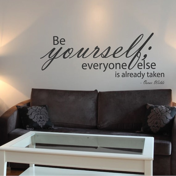 Oscar Wilde Be Yourself Wall Sticker Famous Quote Mural Words Lettering Inspirational Modern Home Decor Art