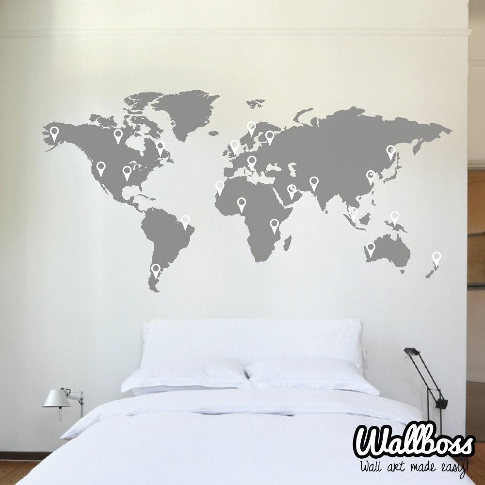 150cm monde carte sticker mural autocollant pochoir chambre etsy - Pochoir mural chambre ...