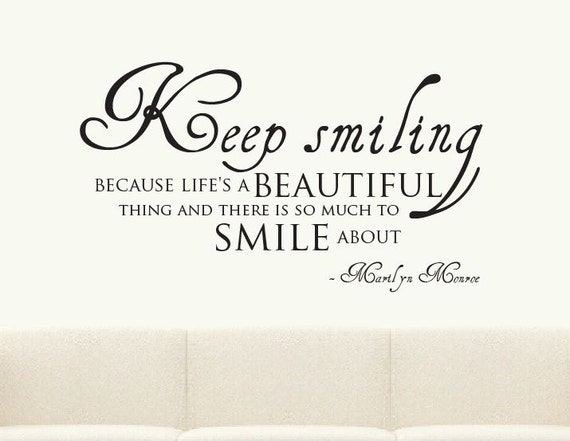 Keep Smiling Marilyn Monroe Quote Wall Sticker Mural Decal Etsy