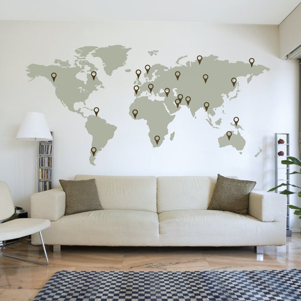 Full Wall World Map.Large World Map Wall Decal Sticker 7ft X 3 47ft Vinyl Wall Etsy