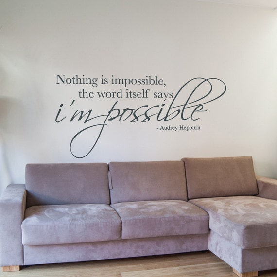 nothing is impossible wall sticker vinyl wall decal quote | etsy