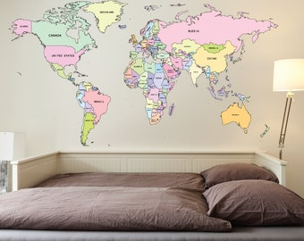 World map wall sticker decal with pointers 72ft printed world map wall vinyl self adhesive office travel gumiabroncs Image collections