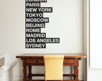 Cities Of The World Wall Sticker - London New York Paris famous places wall vinyl decal Removable