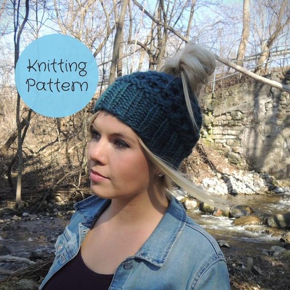 Knitting Pattern Messy Bun Hat Ponytail Hat Yoga Jogging  0657a1656ed2
