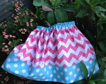 Hot Pink Chevron and Aqua Dots Skirt, (baby, toddler, girls, infant, child)