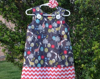 Grey Giraffe Dress, w Coral Chevron band (baby, girls, infant, toddler, child) jumper or sundress, with matching hair accessory