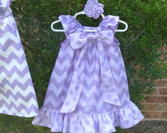 THE SOFIA - Peasant Dress w/Ruffle in Lavender Two-Tone Chevron, w Dotted Ruffle and Bow, w hair access, Girl, Baby, Girls Toddler