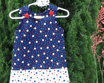 Patriotic Pop Metallic Dots Dress, 18 mo, 2T, 3T, 4th of July, Independence Day, Red White & Blue, with matching hair accessory.