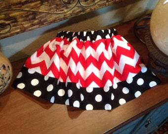 Black & Red Chevron and Dots Skirt (baby, toddler, girls, infant, child)