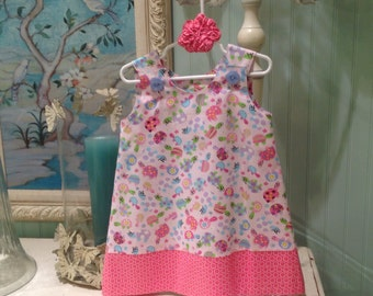 Child's Play Turtles Dress in Pink (baby, infant, child, girl, toddler) sundress, w matching hair accessory