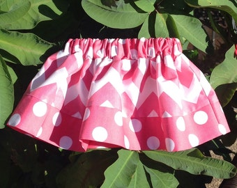 "Hot Pink Chevron and Dots Skirt, ""Medium"" Chevron (baby, toddler, girl, infant, child)"