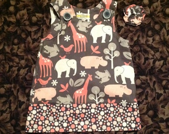 Pink & Gray Jungle Animal Dress, (baby, toddler, girls, infant, child) with matching hair accessory