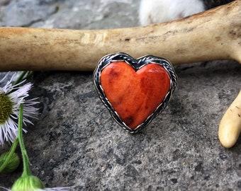 Orange Spiny Oyster Heart Surgical Steel Stud Earrings 9  mm wide hearts