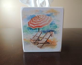 Beach Chairs with Umbrella- Pastel Tissue Box