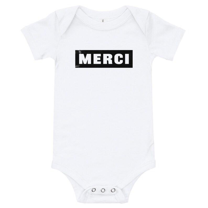 ff9653f99 Merci White Bodysuit 3-24 months Baby White Onesie | Etsy