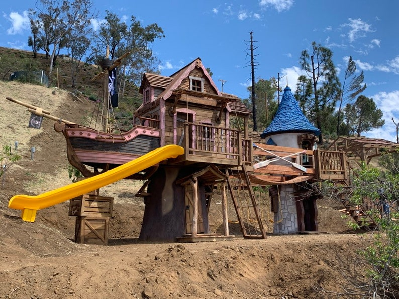 pirate ship and Rapunzel tower castle playground