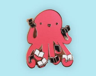 Octopus and Books Enamel Pin