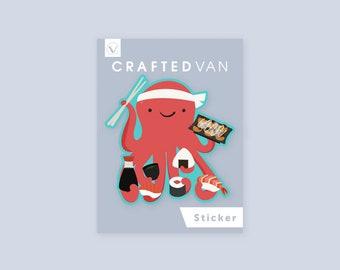 Octopus Making Sushi Vinyl Sticker