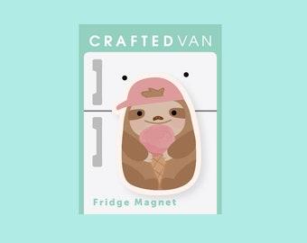 Sloth Ice Cream Fridge Magnet