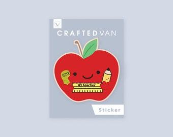 Apple #1 Teacher Vinyl Sticker