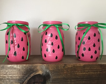 Watermelon Party Mason Jars // Summer Birthday Party Decor // Forks Spoons and Kinves Holder // Set of 3