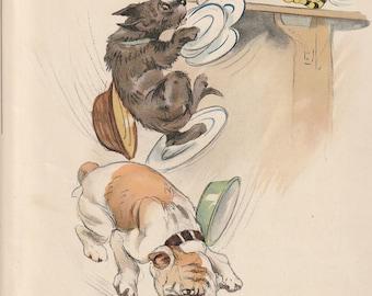 Blobbs English Bulldog Scottish Terrier Cat Crockery Plates print Vernon Stokes 1927 colour dog print Wall Art Home Decor Vintage Antique