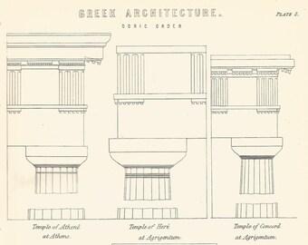 Greek Architecture Doric Order Temple Athene Here Agrigentum Agora Athens engraving print 1880 Wall Art Home Decor Vintage Print