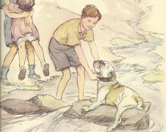 Bulldog English Boy Girl Children Stream River by Vernon Stokes 1944 colour dog print Wall Art Home Decor Vintage Print Antique Print