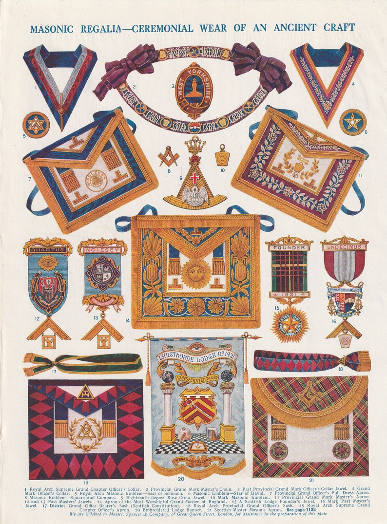 Masonic Regalia Ceremonial Wear Ancient Craft Chain Emblem Collar Jewel  Langthorne Lodge original print 1930 vintage art home decor wall