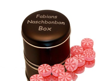 as desired engraved noble black can tin of sweets for to go toffee tin with inscription lettering with name individualized gift tin under 10