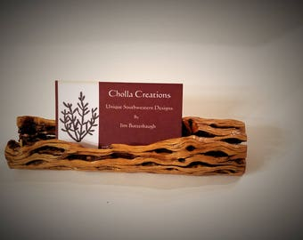Cholla Cactus Wood Business Card Holder Md.