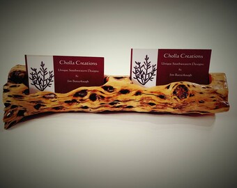 Cholla Cactus Wood Double Business Card Holder