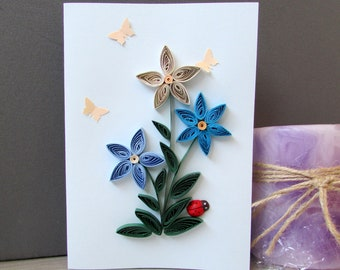 Blue Flower Quilling Card, Mother's Day Card, Blank Birthday Card, Flower Greeting Card, Flower Art