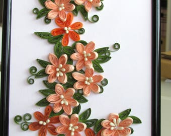 Flower Wall Clock Living Room Art Home Decor Paper Quilling Etsy