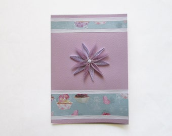 Quilling Happy Birthday Card, Flower Greeting Card, Mothers'Day Card, Blank Birthday Card, Paper art card