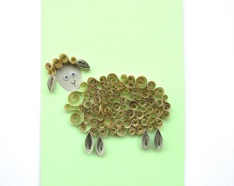 Quilling Sheep Card, Year of The Sheep Card, Sheep Greeting Card, Kids Birthday Card, Funny Card, Animal Card