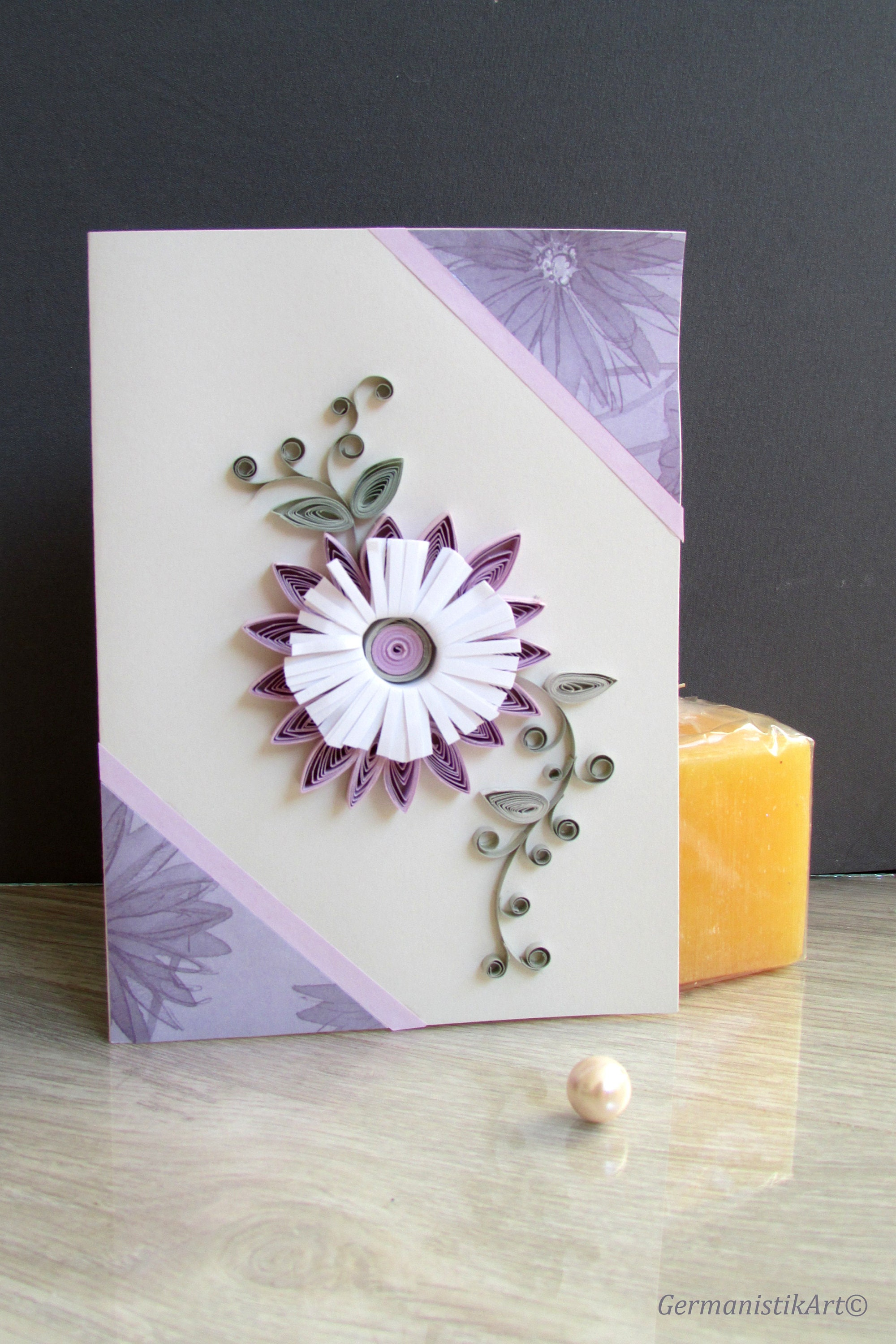 Purple flower happy birthday card mothers day greeting etsy zoom izmirmasajfo