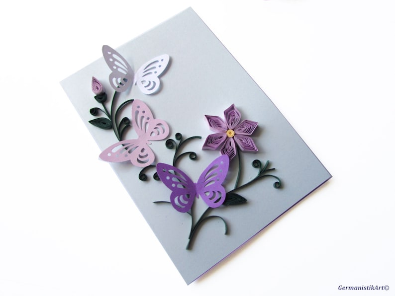 Purple Flower Mothers Day Card Happy Birthday Butterfly Etsy