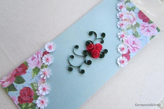 Quilling Carte Danniversaire Fleur Rose Danniversaire Enveloppe
