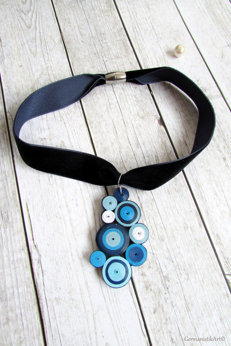 New Girlfriend gift Bubble Asymmetrical Necklace Statement Collar upcycled paper art small round pendant Multi Circle Jewelry