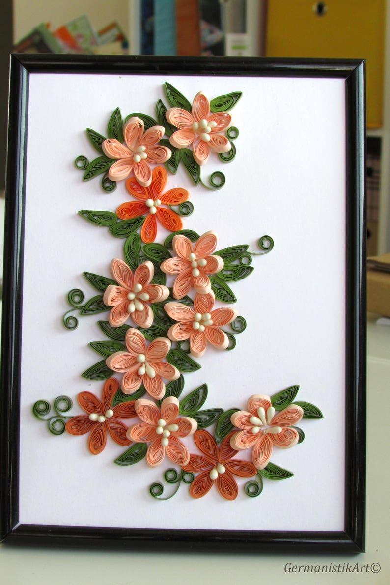Quilling Orange Flower Wall Art Decor Paper Art