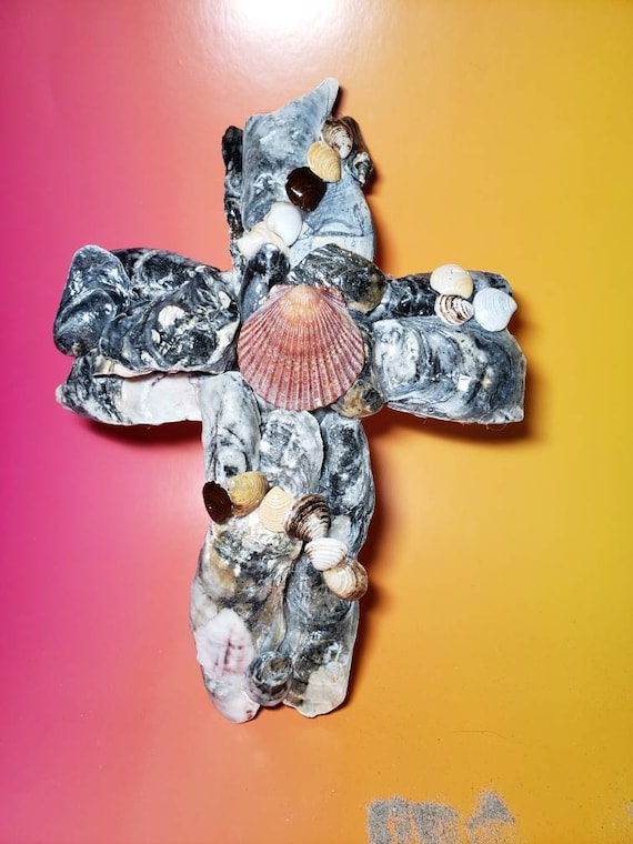 Sea Shell Hanging Cross from New Jersey Shore