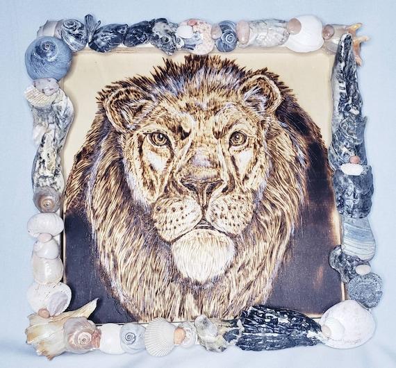 Sea Lion, Lion Art, Wood Burning, Pyrography, Mufasa, Jersey Shore, Sea Shell Art, Aslan, Simba, King of the Jungle, Nautical, Beach Decor
