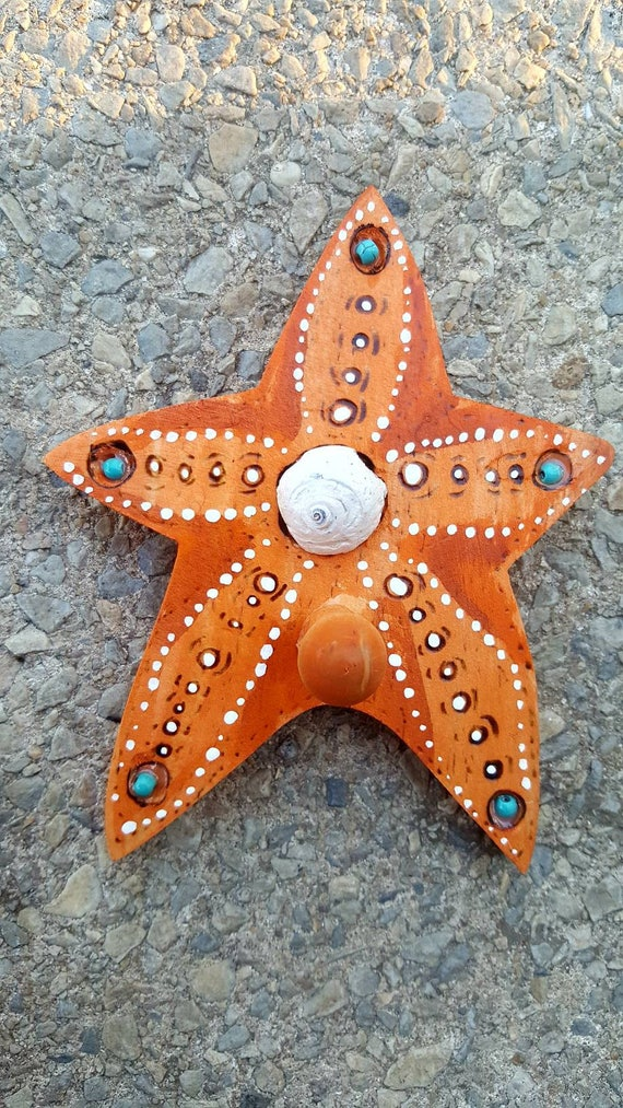 Wood Burned Starfish Hanger Key Holder with  a real Sea Shell and Turquoise