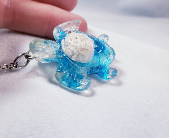 SEA TURTLE Necklace made from Resin with a Real Seashell Inside and a Hint of Sparkle